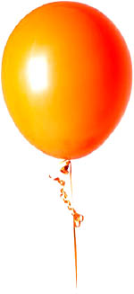 Fun outdoor games for toddlers: Making a kite out of an orange balloon.