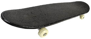 Fun activities for the outdoors: Balancing on a skateboard. Photo of black skateboard.