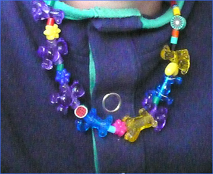 Necklace with fun beads and animal beads - easy crafts for kids.