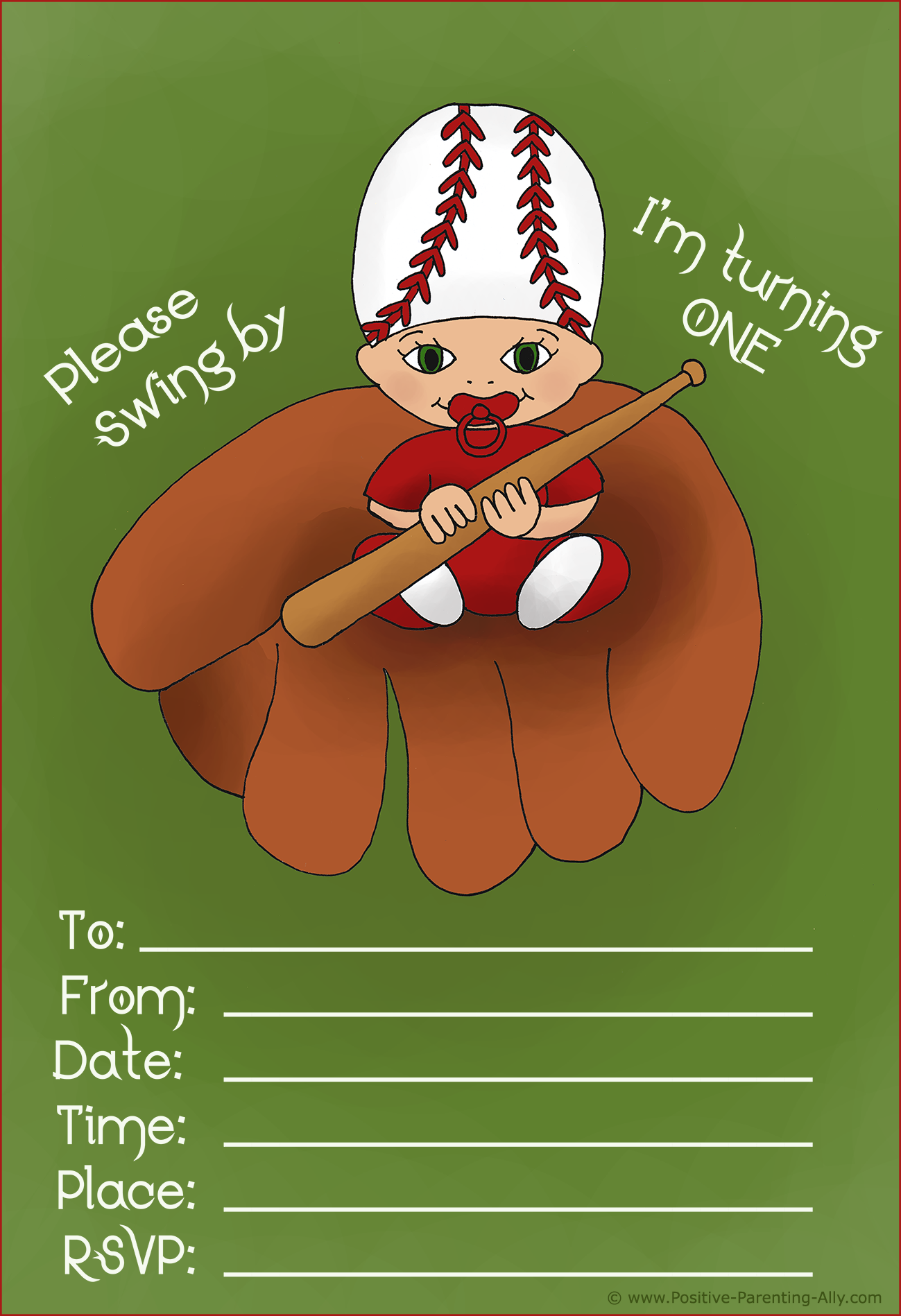 Cute printable baby invite for first birthday - daddy's favorite baseball theme.