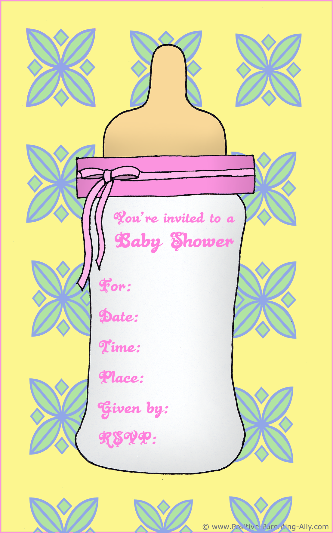 Printable baby shower invitation for girls - pink bottle.