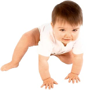 Baby learning to crawl.