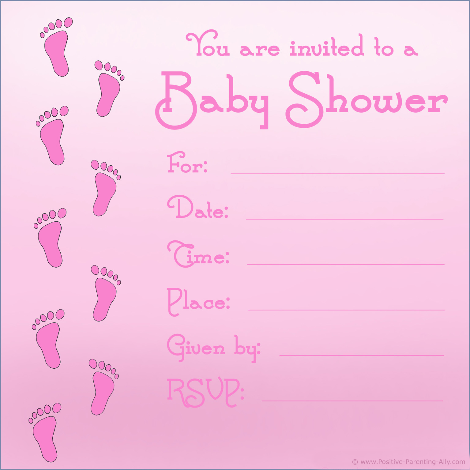 Baby girl shower invitations template with pink footprints.