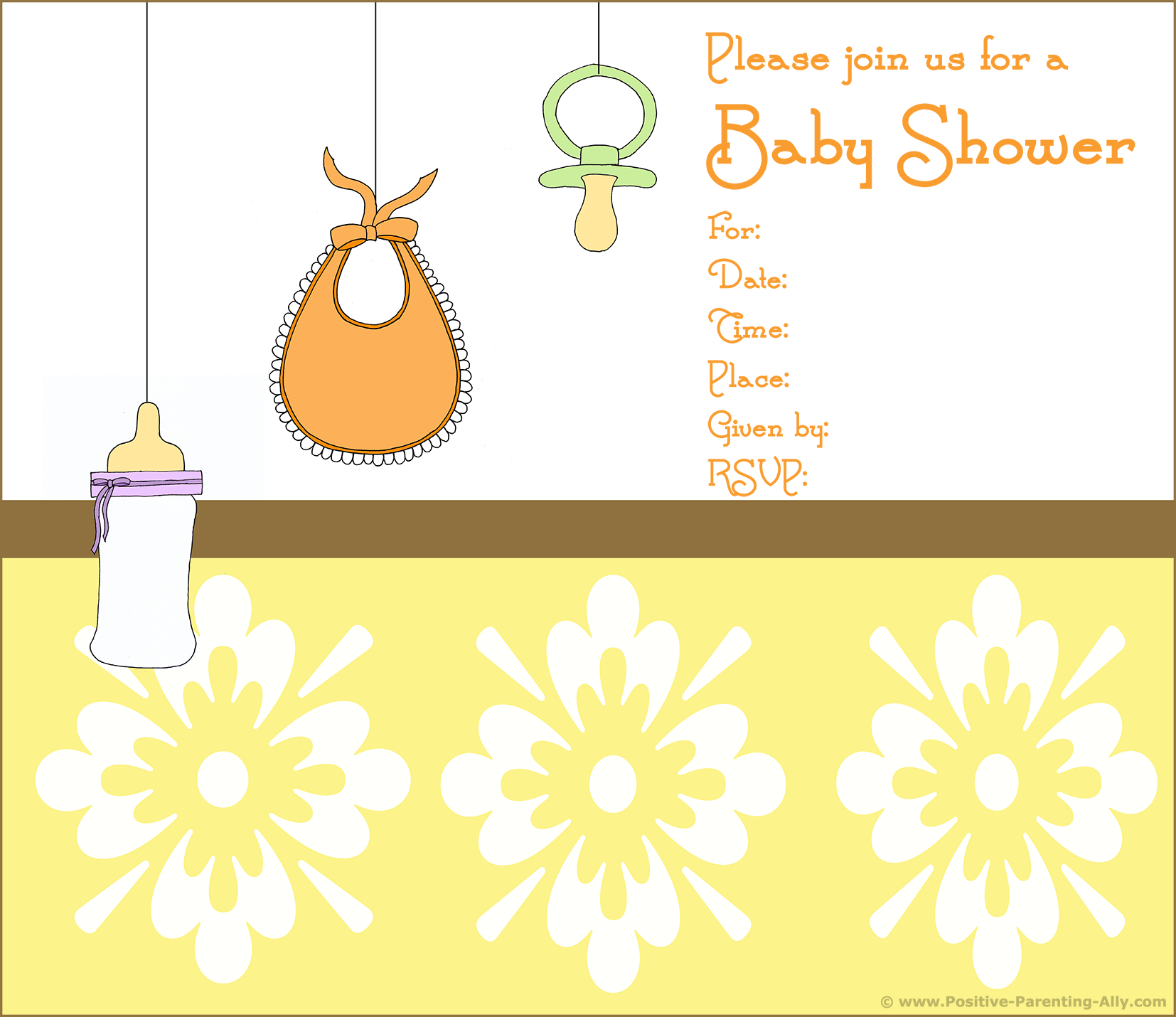 Free printable baby shower invitations with lots of baby gear, pacifier, bib and bottle.