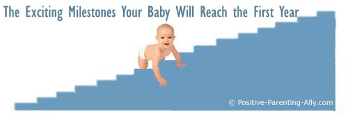 Picture of baby crawling up blue staircase which represents milestones reached during the first year.