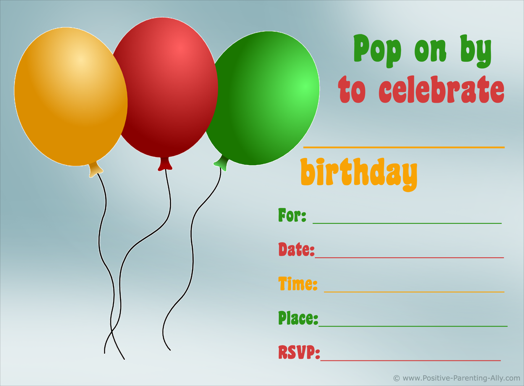 Birthday invitation to print with balloons