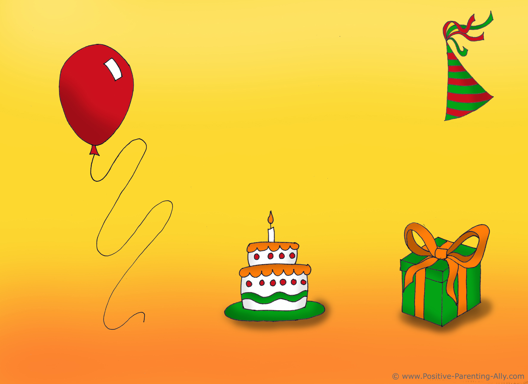 Birthday clipart on birthday invite with shades.