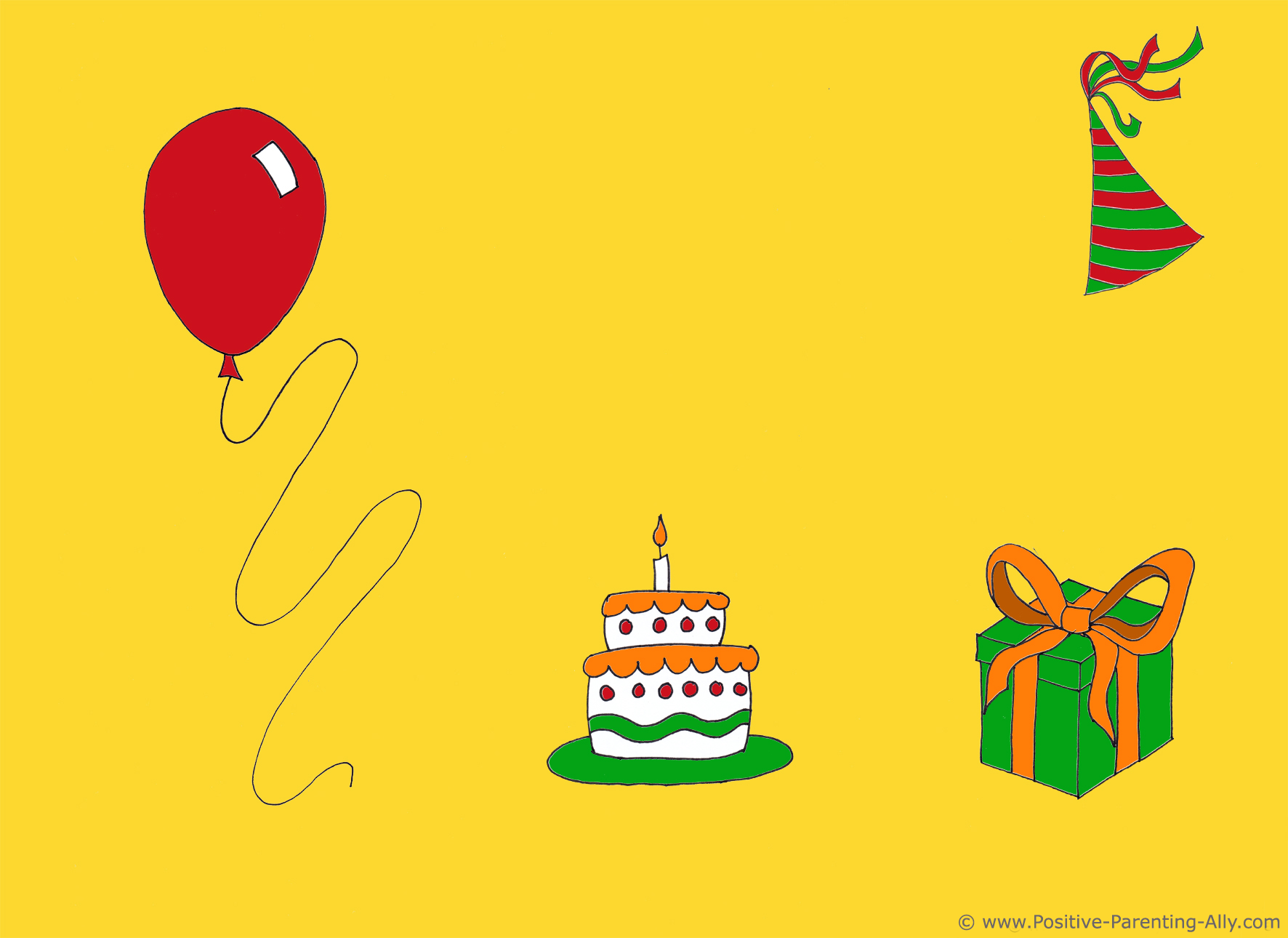 Example of birthday clipart on invite in simple color scheme.