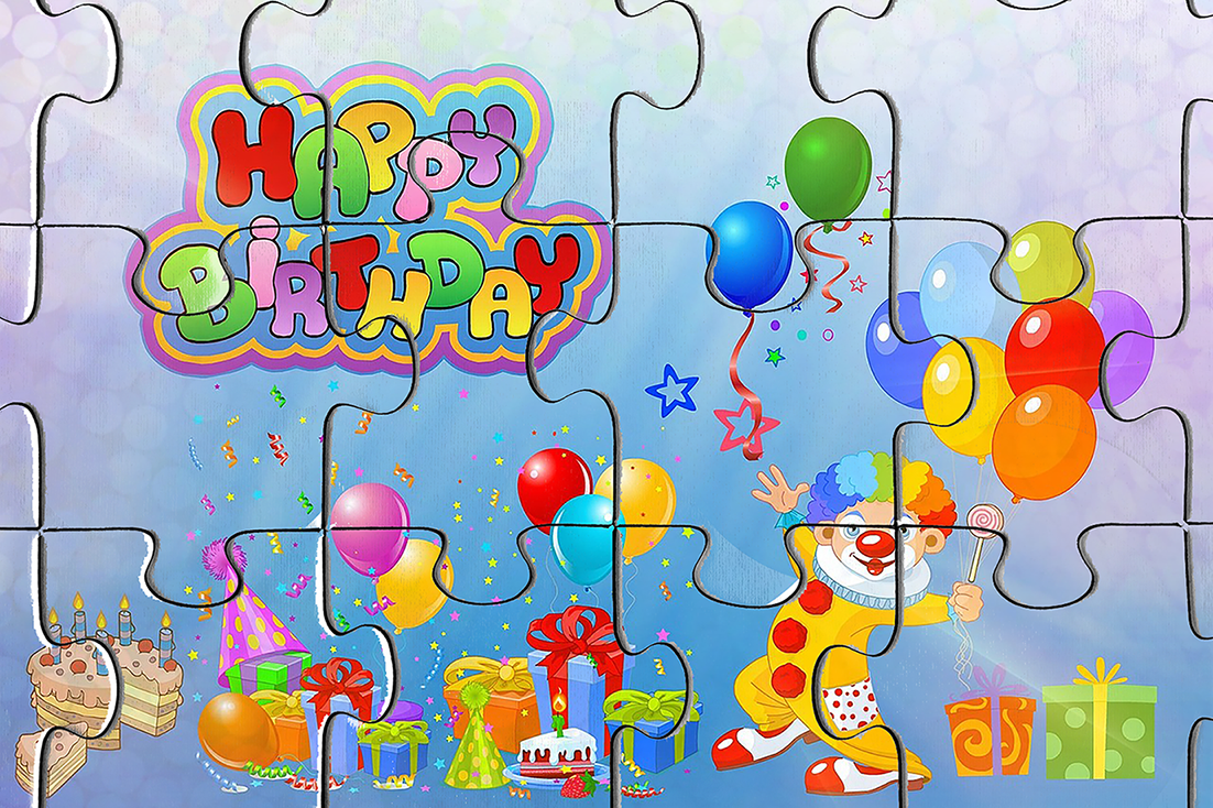 Printable birthday party invitations as a puzzle. Cut each piece out and send it to each child.