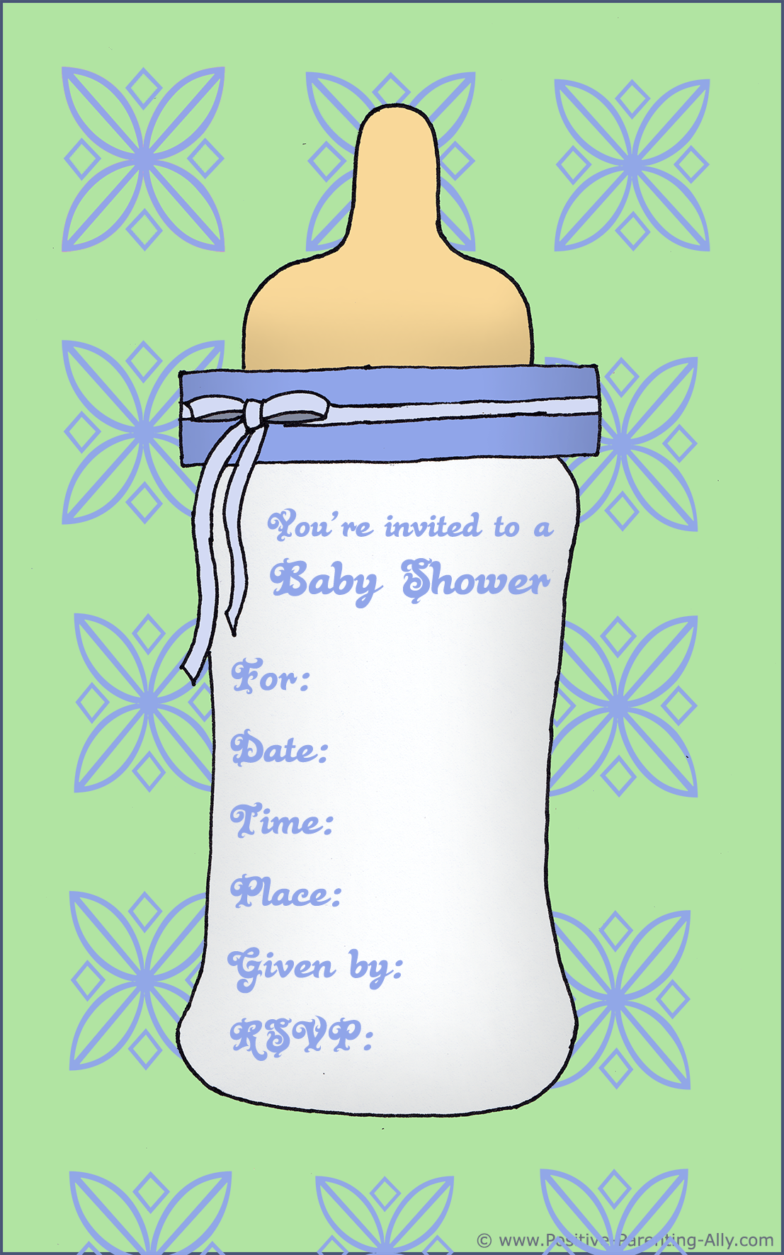 Unique baby shower templates featuring a baby bottle for boys.