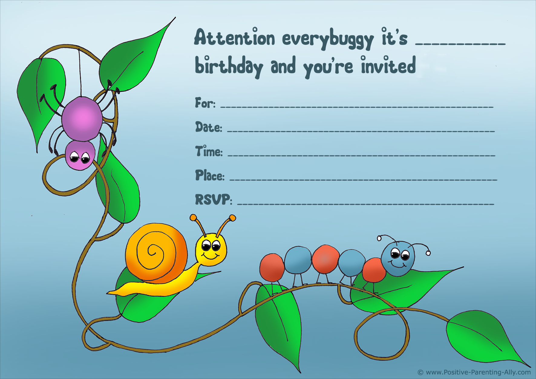 Cute birthday party invitation for kids with bugs.