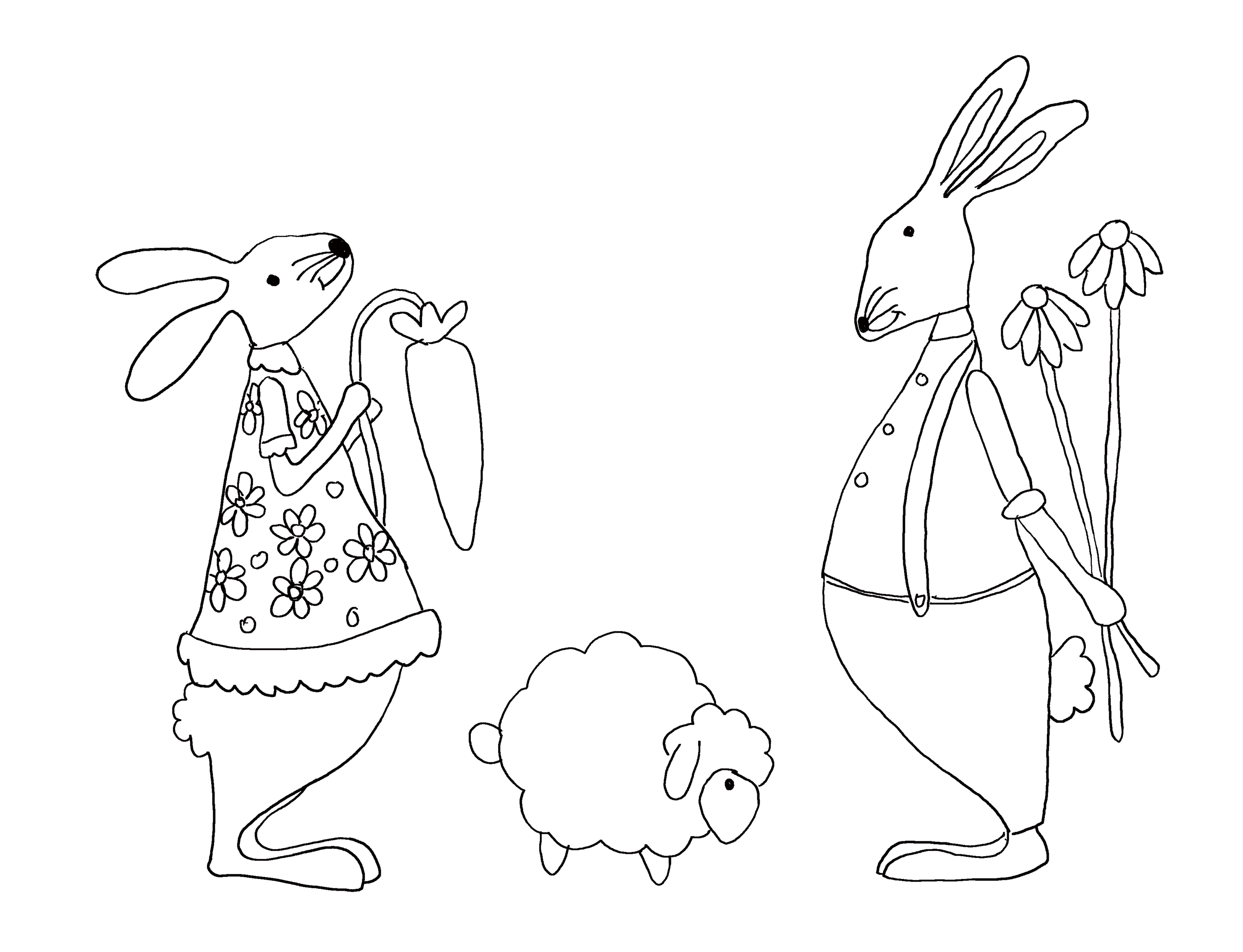 Cute coloring page for Easter with two bunnies and a lamb.