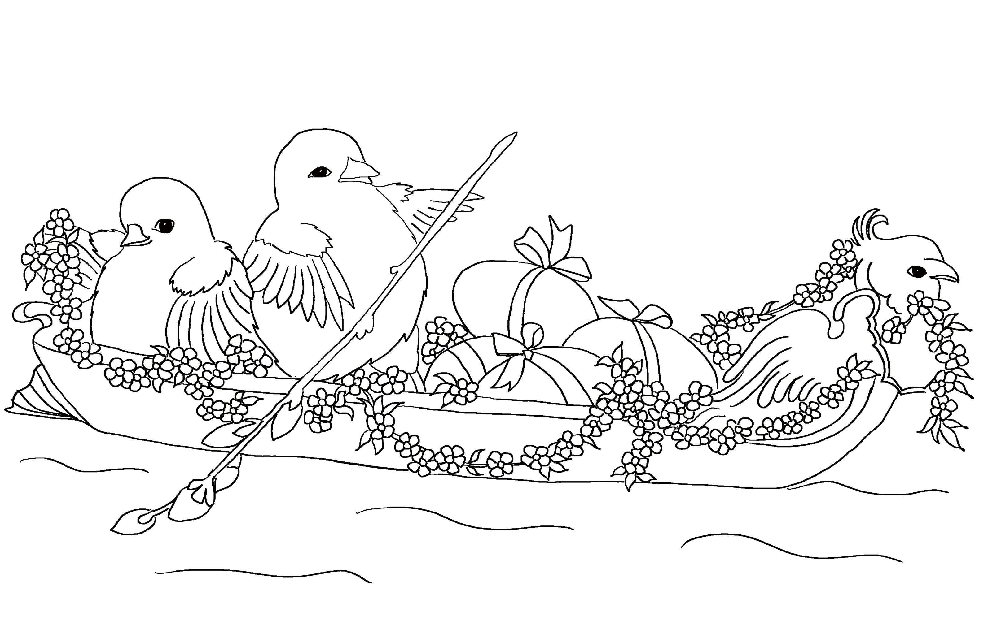Easter coloring page for kids with two chickens in a gondola.