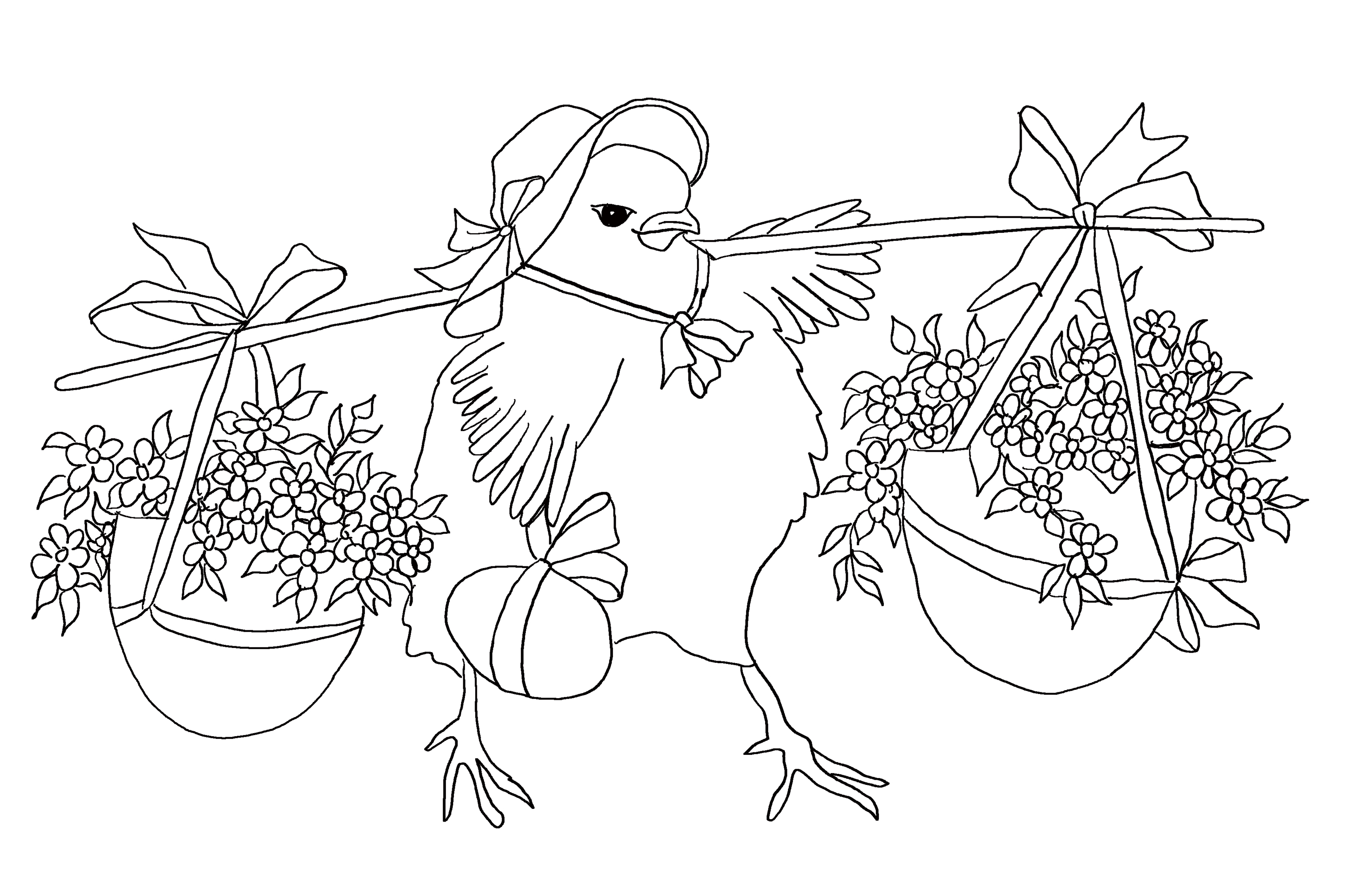 Easter chicken with two big pots of flowers. Coloring page for kids.