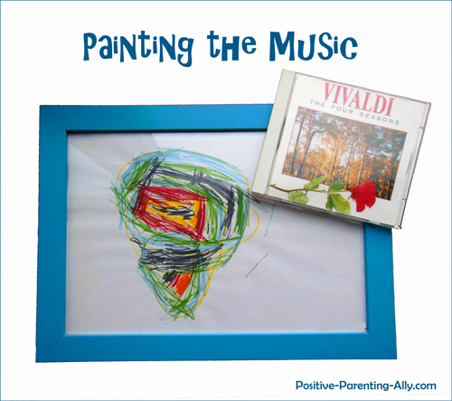 Example of abstract child drawing inspired from listening to classical music.