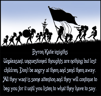 Byron Katie insights on negative thoughts as lost children. Picture of children parading.