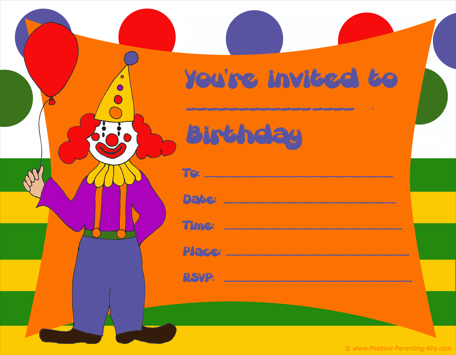 Colorful clown birthday party invitation to print.
