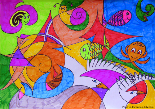 Fun creative activity with kids: drawing colorful abstract drawings with kids.