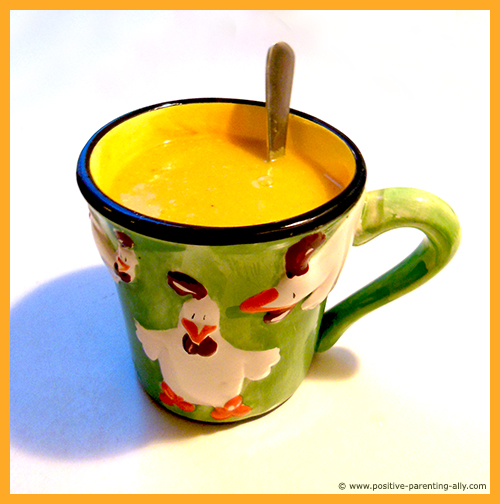 Healthy kids snack for after daycare or school: Delicious and easy pumpkin soup.