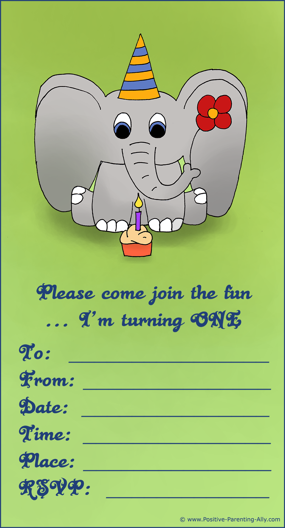 Printable first birthday party invitations: Cute baby elephant for both girls and boys.