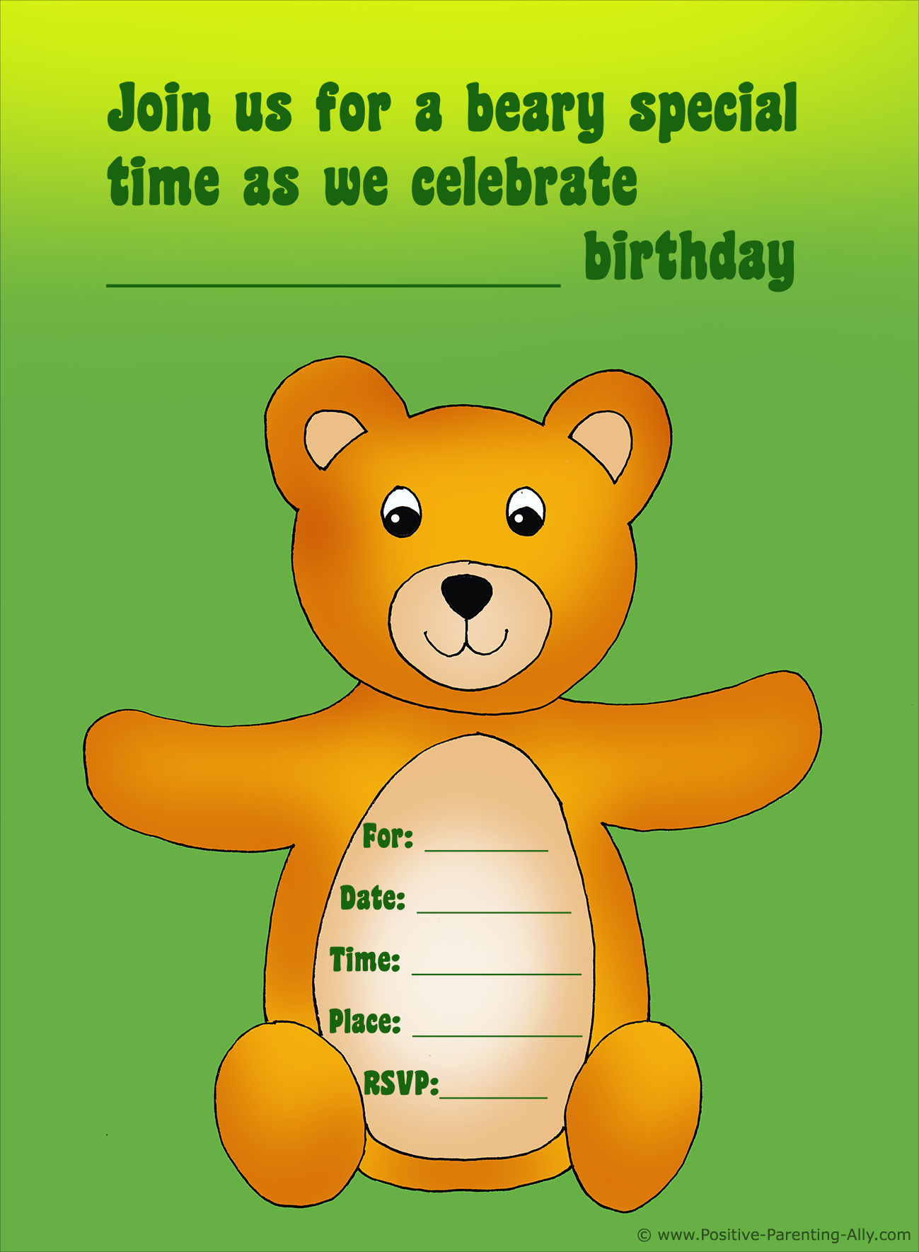Cute teddy bear birthday party invitation to print.