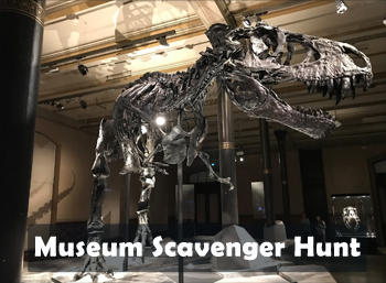 Scavenger hunts for kids: Photo of dinosaur skeleton