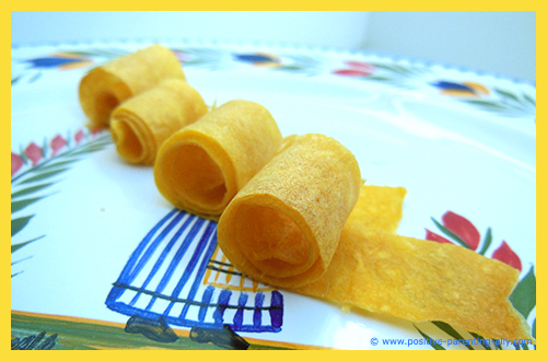Dried / baked mango rolls. Examples of easy and healthy kids snack recipes with fruit.