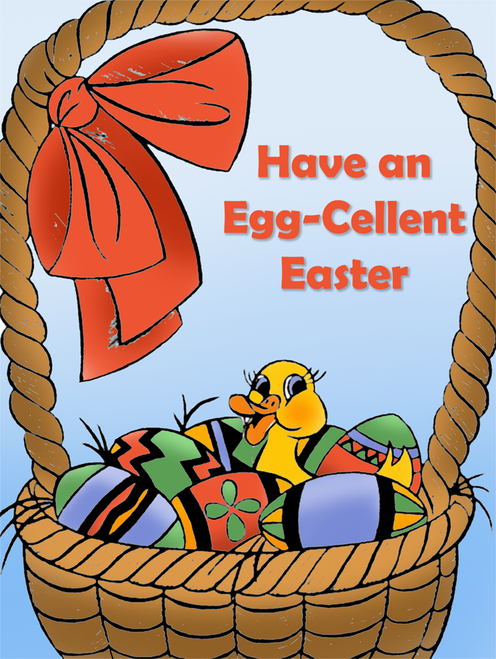 Free Easter card with duckling in a basket with eggs.