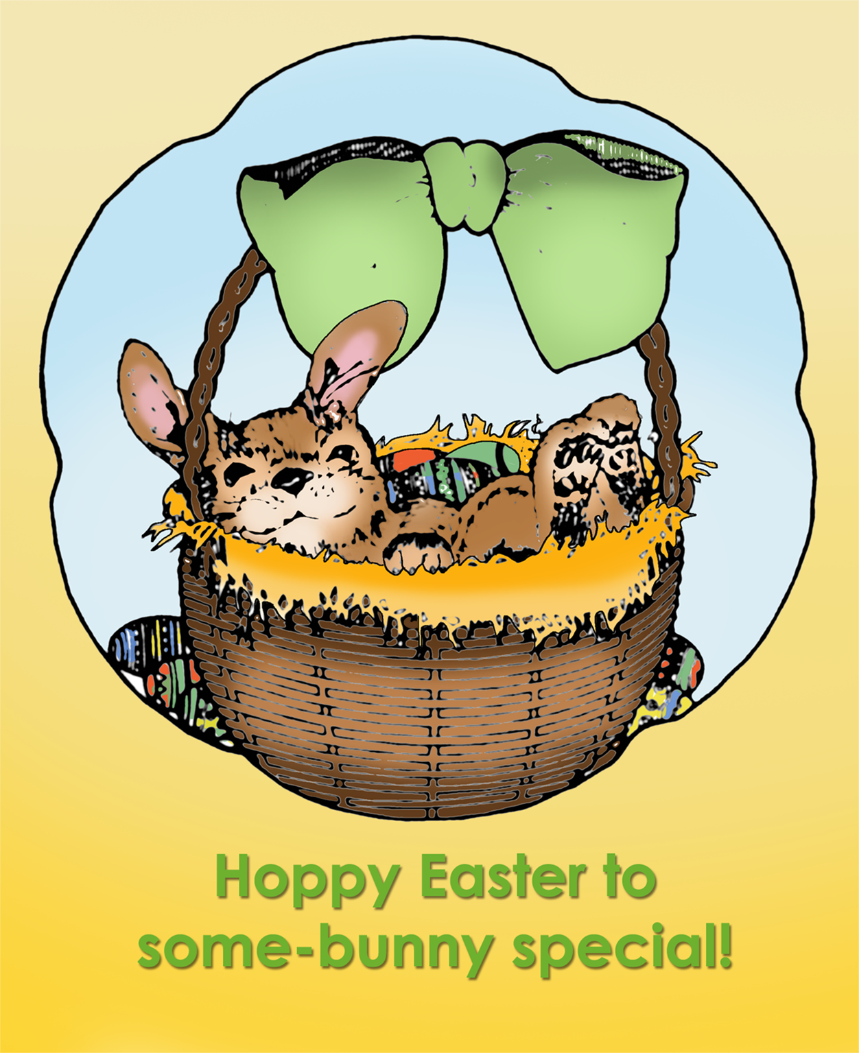 Printable Easter card with cute bunny in a basket.