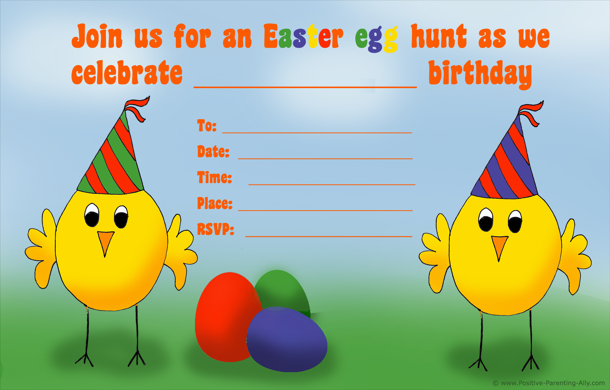 Easter egg hunt birthday invitation with chickens.