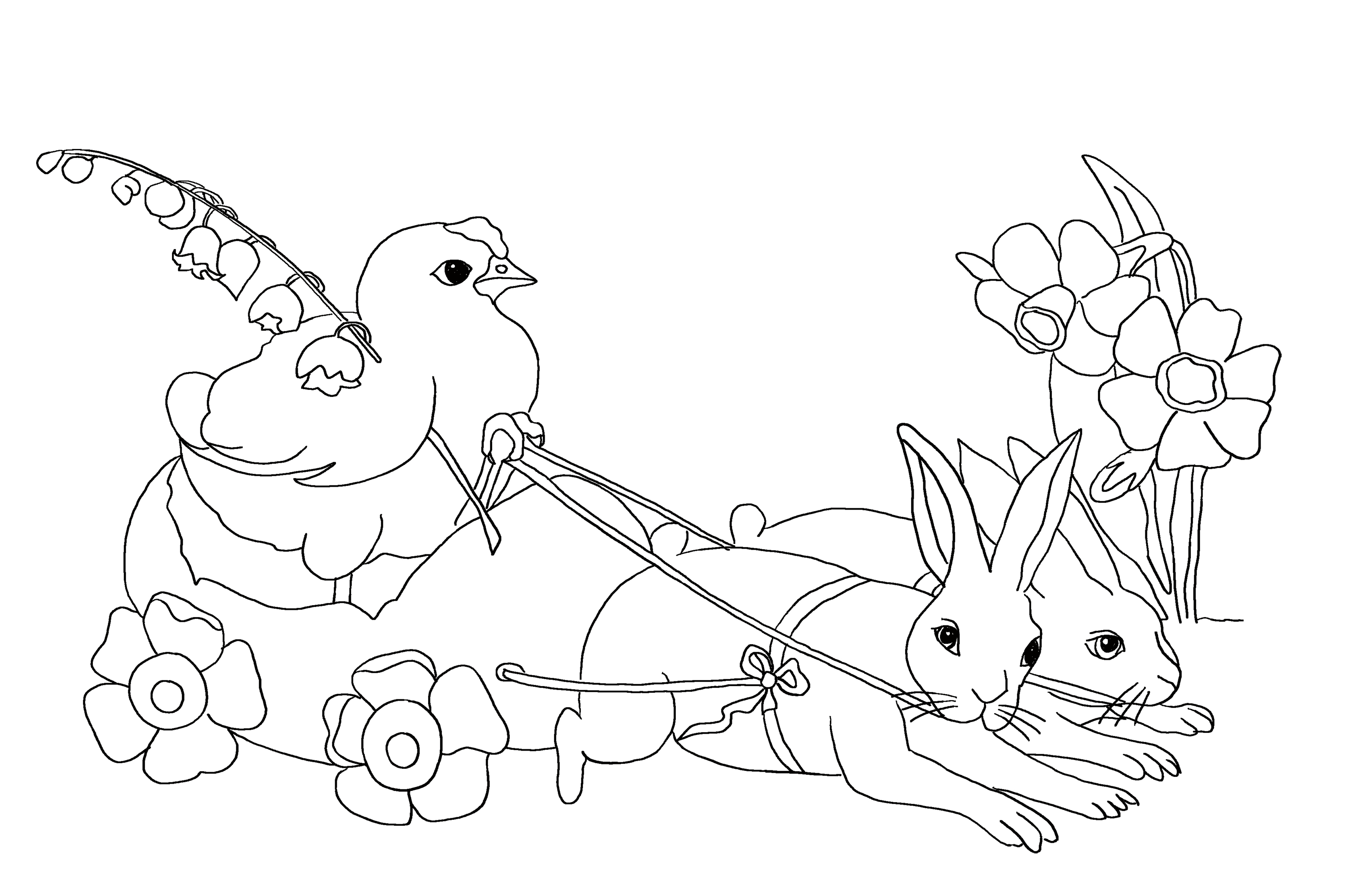 Coloring page for Easter: Two hares pulling a cart with a mother hen.