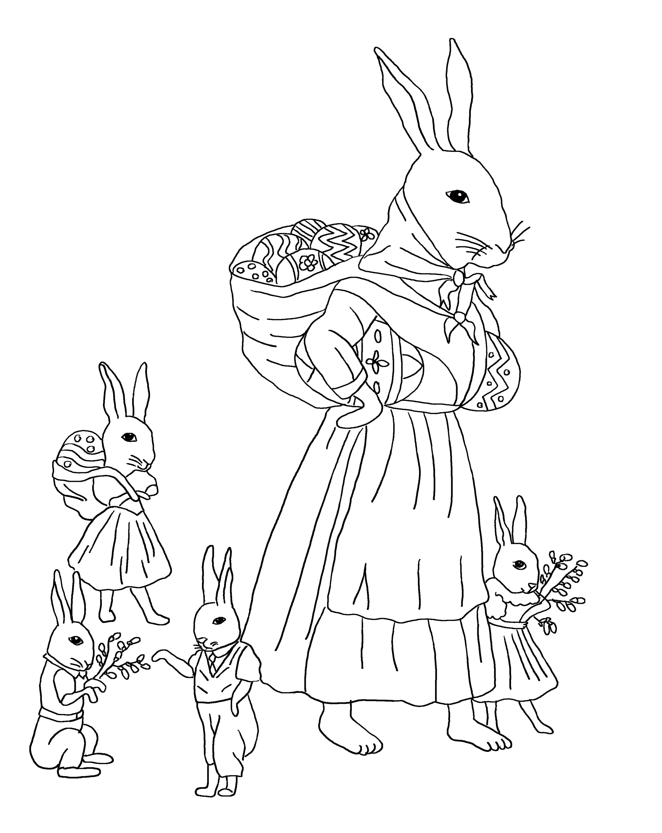 Easter coloring page with Easter bunnies with eggs and branches.
