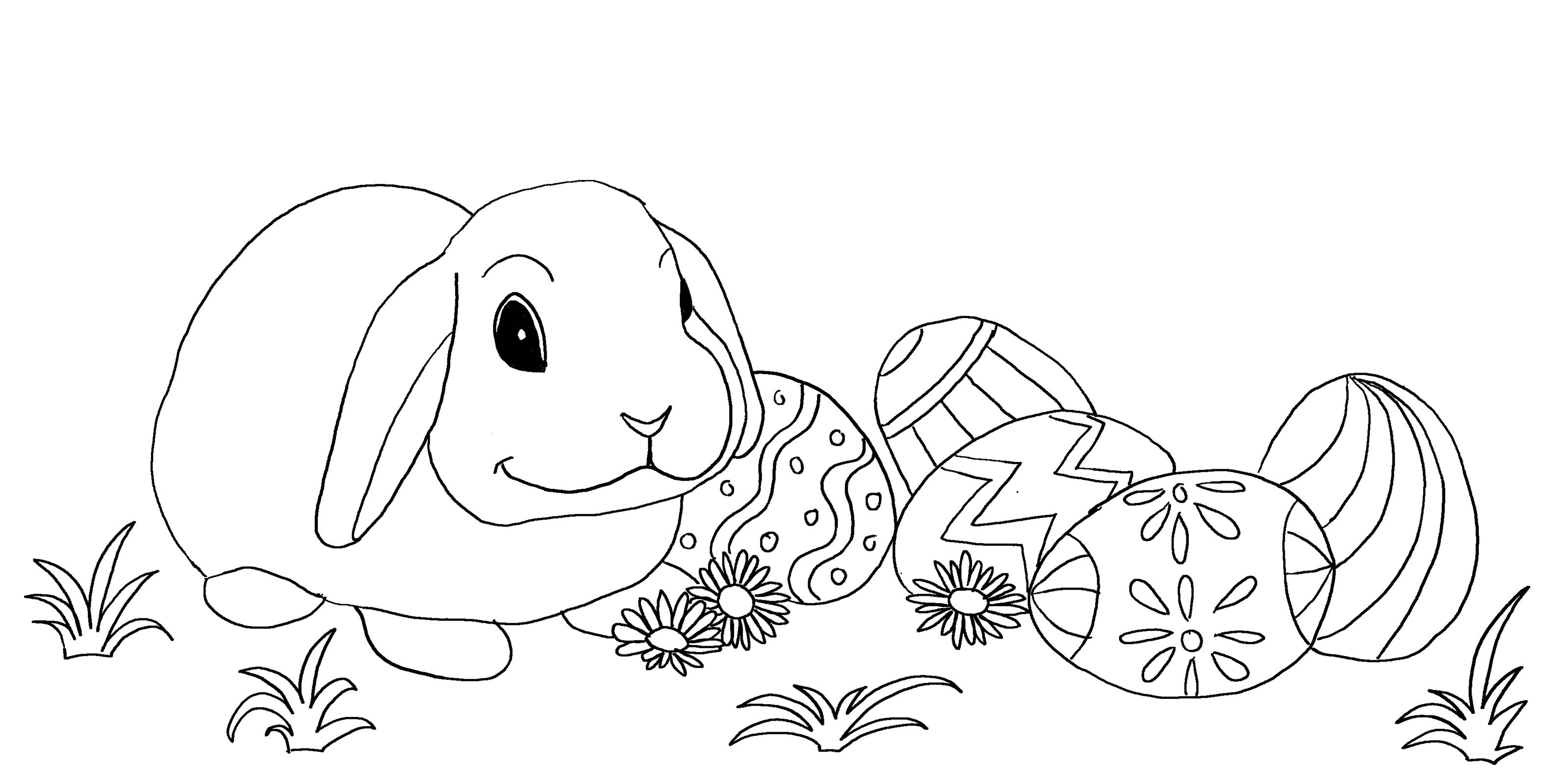 Cute Easter rabbit with many Easter eggs. Coloring page for kids.