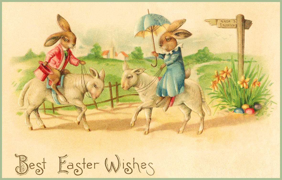 Old vintage Easter card to print. Bunnies riding lambs.