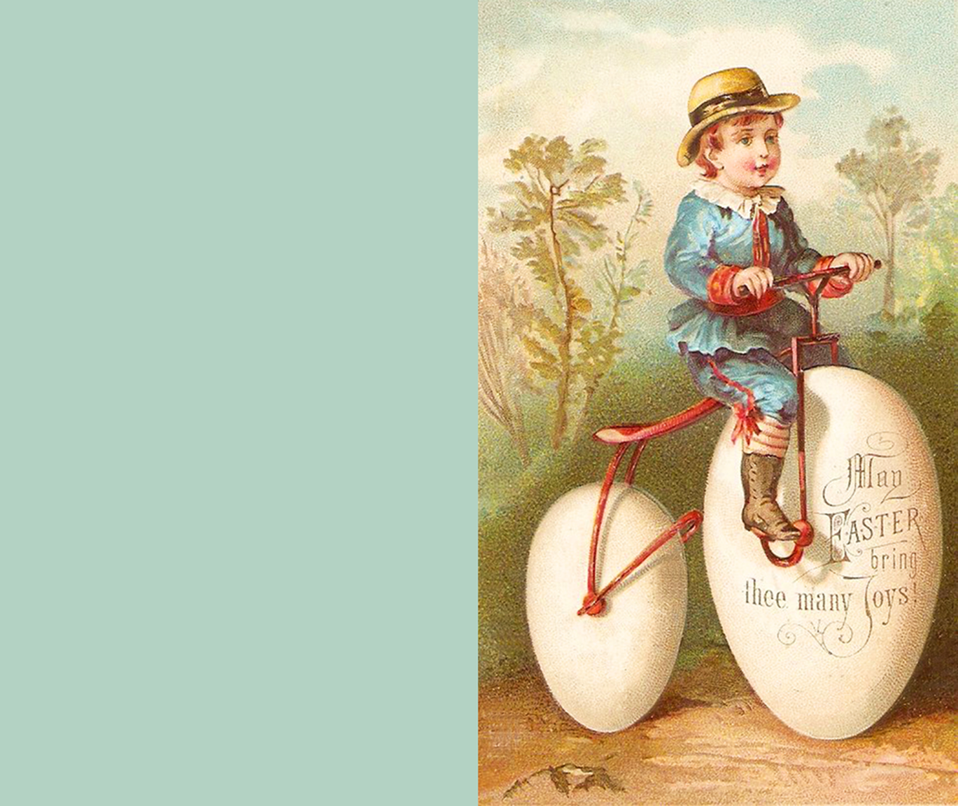 Printable vintage Easter greeting card with a little boy on a bike.