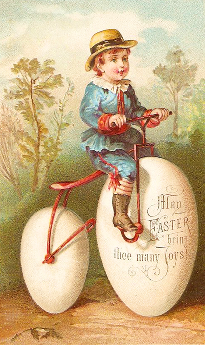 Vintage printable Easter card with little boy on a bike