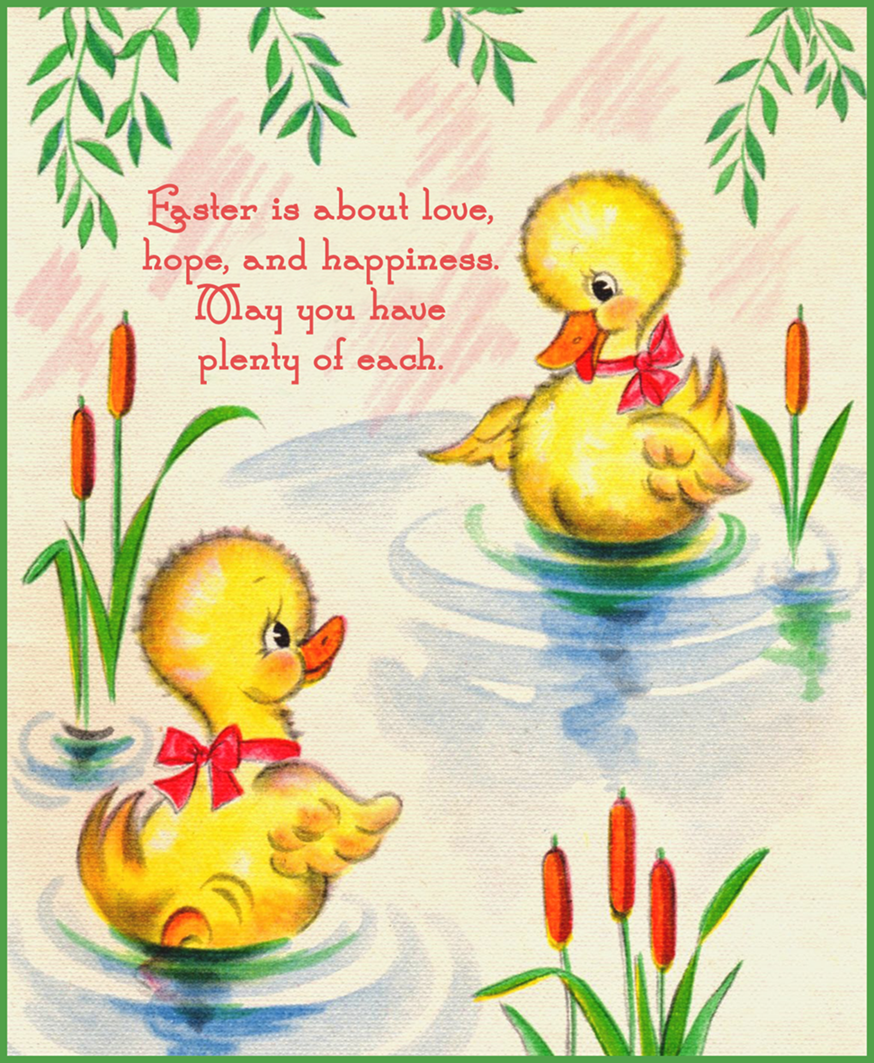 Old vintage Easter postcard with two ducklings in a pond.