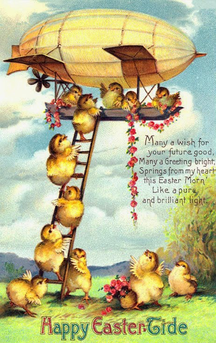 vintage printable Easter card with chickens climbing an airship, a zeppelin.