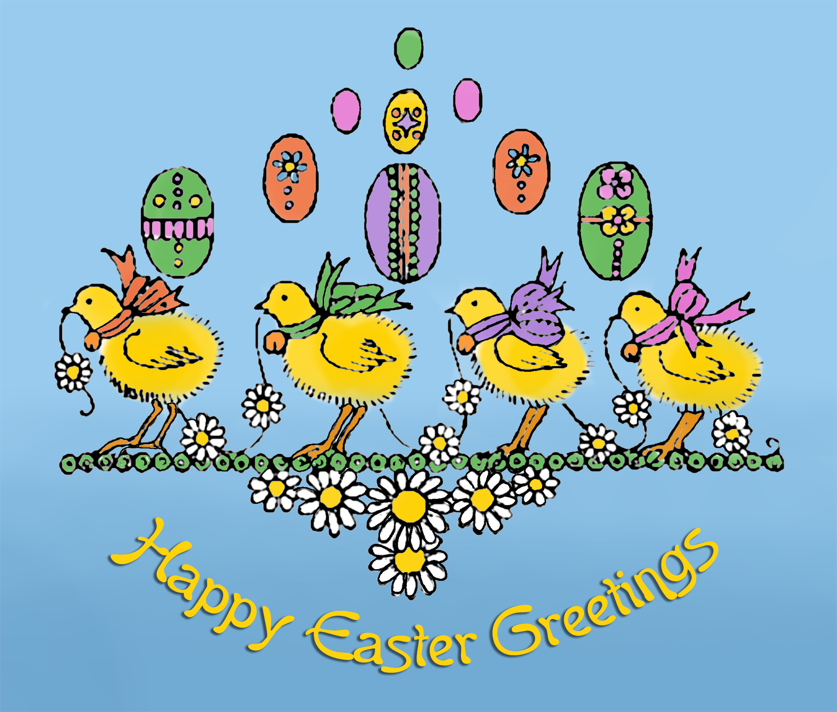 Beautiful printable Easter card with cute chickens and eggs.
