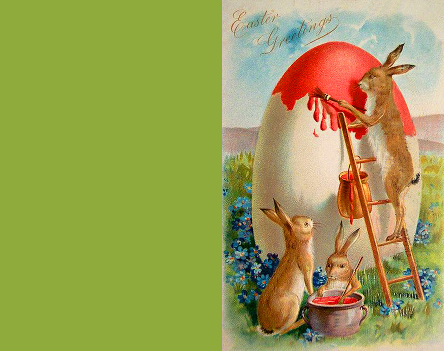 Free Easter greeting card to print with cute bunnies.