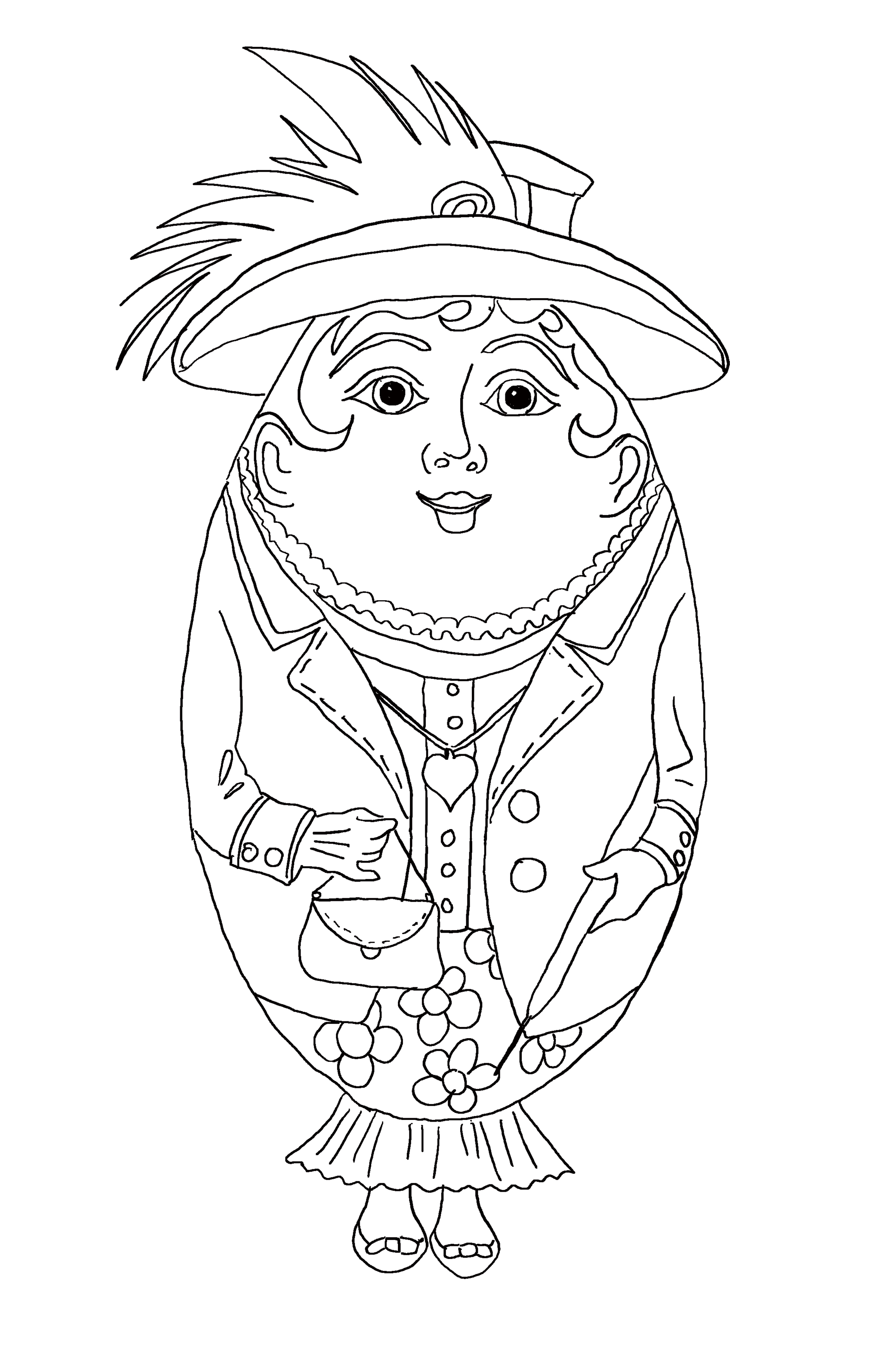 Funny vintage Easter egg woman. Coloring page for kids.