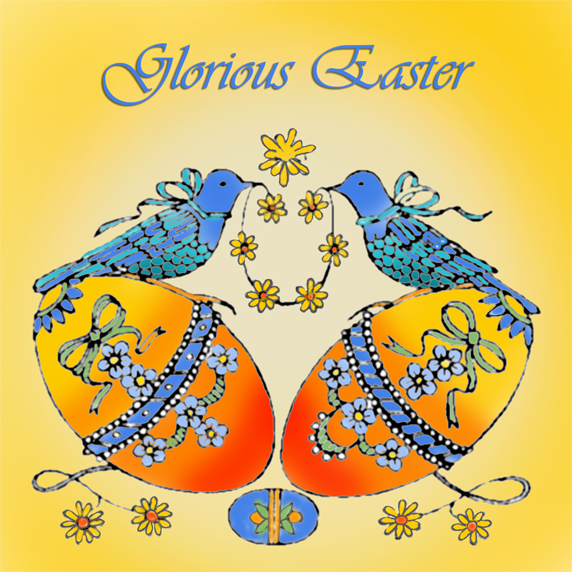 Beautiful Easter card to print with birds and eggs.