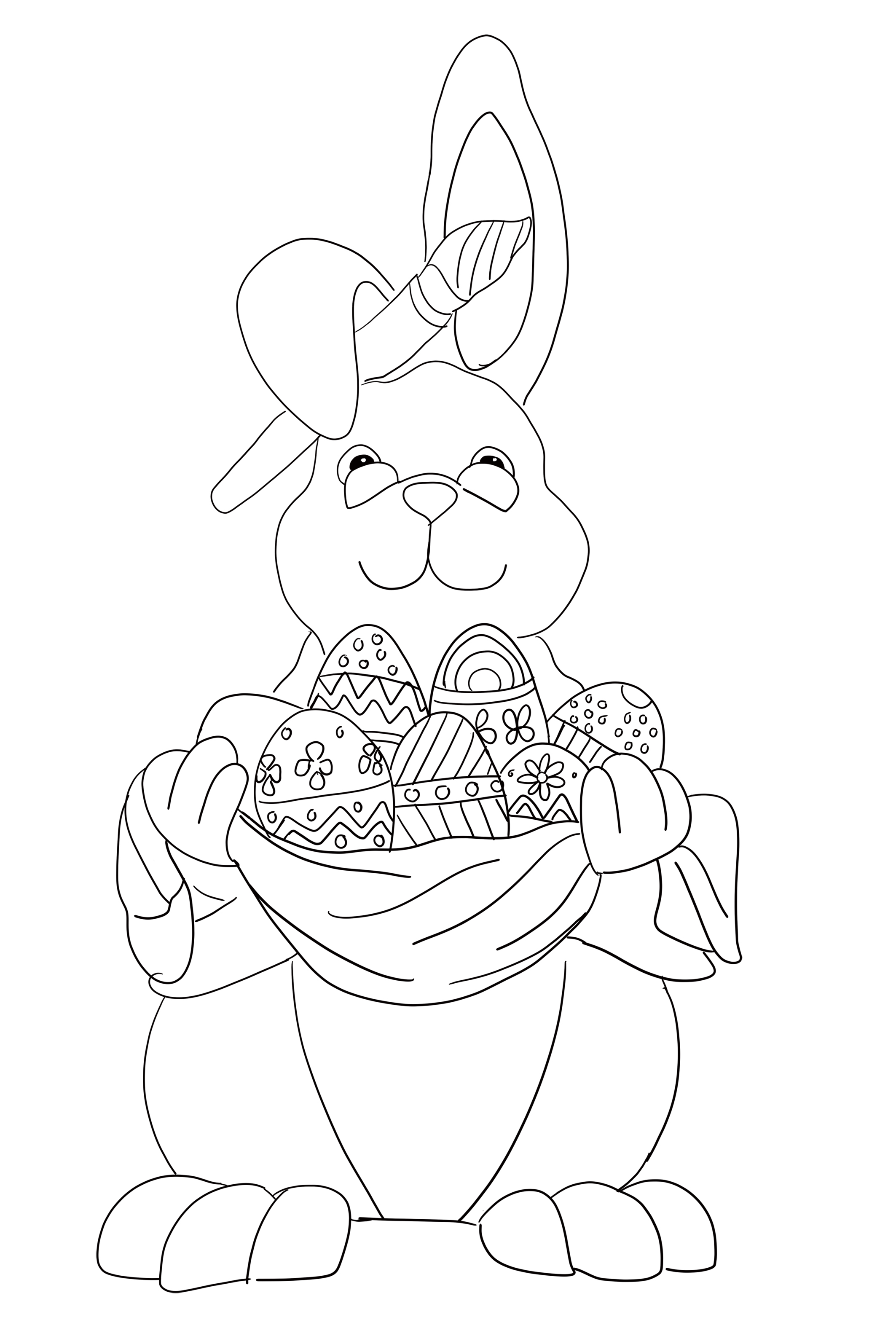 Easter coloring pages: Easter hare with eggs and paintbrush.