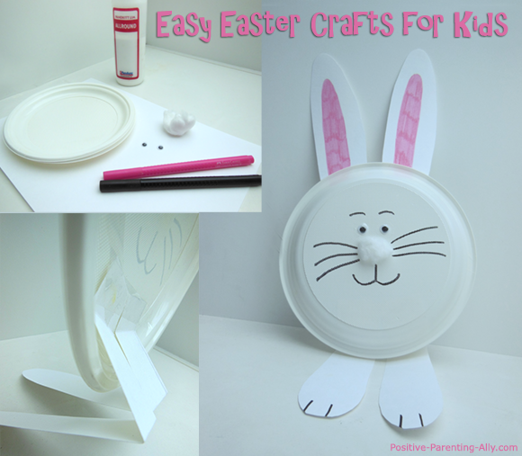 Easy Kids Easter crafts: paper plate bunny - white rabbit.