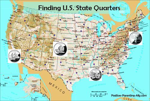 Fun kids game of collecting U.S quarters and sticking them on U.S. map.