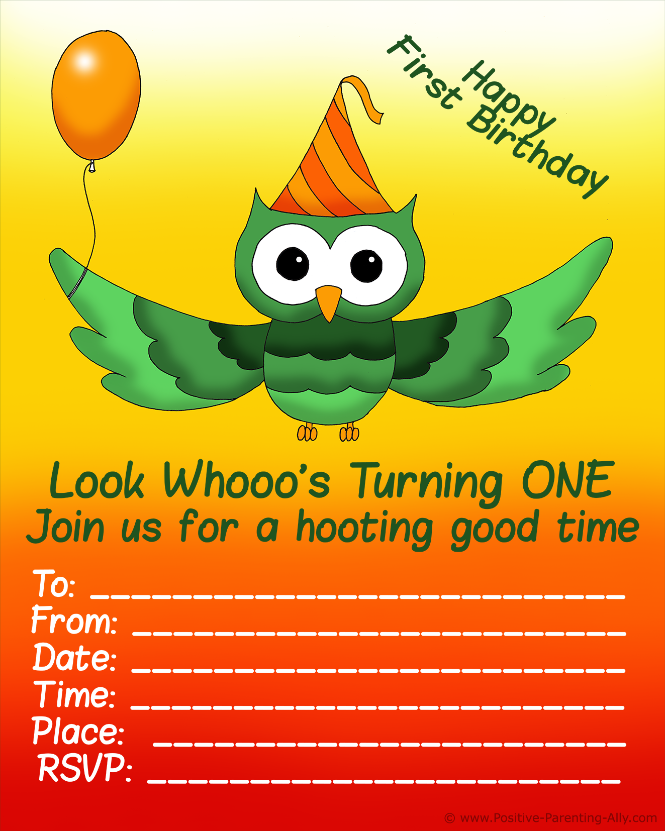 Fun baby birthday party invitation with hooting owl and balloon.