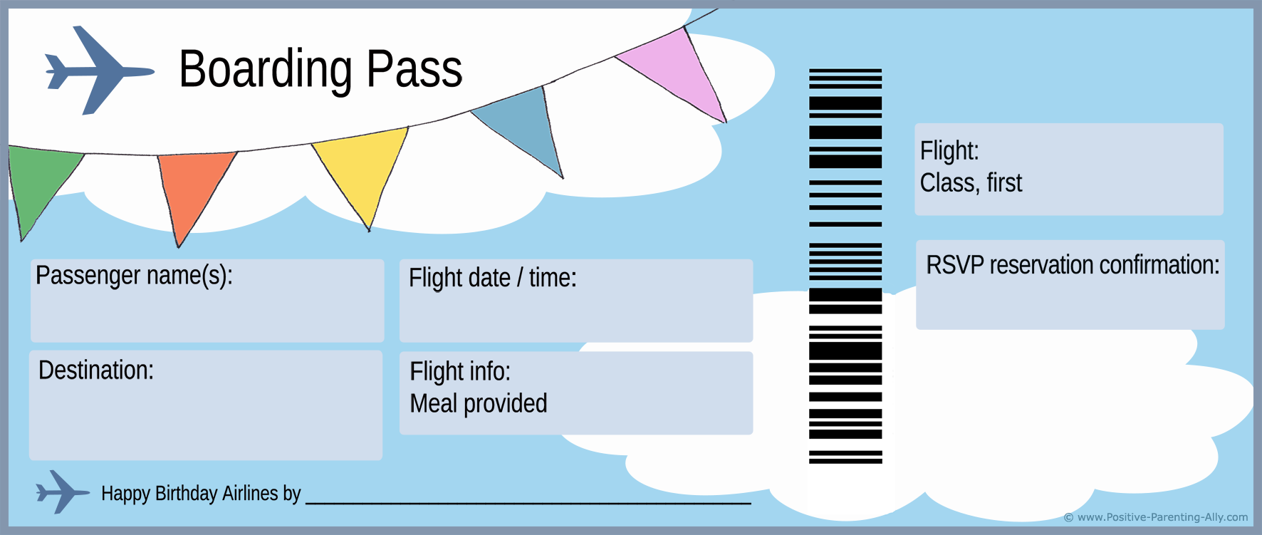 Plane ticket and boarding pass for first birthday party invitation.