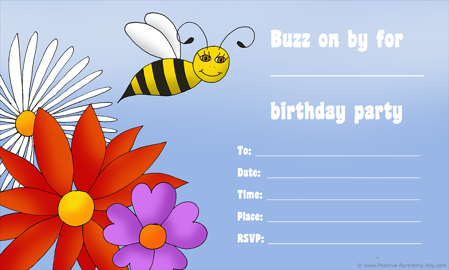 Free kids birthday invitations: Flowers and bees as kids birthday theme for invites.