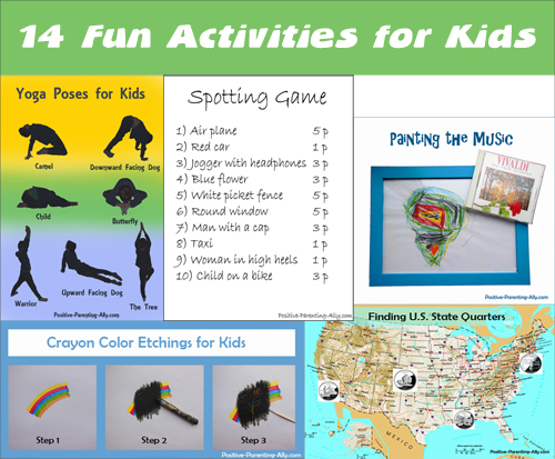 14 fun activities for kids: both creative indoor games and active outdoor games.