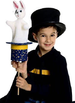 Learning magic tricks for kids: Picture of little boy magician.